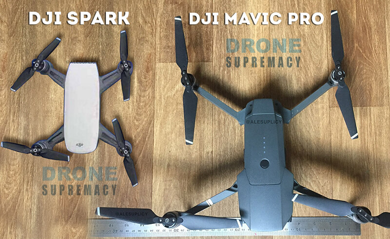DJI Spark vs. Mavic Pro size comparison